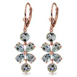 ALARRI 5.32 Carat 14K Solid Rose Gold Chandelier Earrings Aquamarine