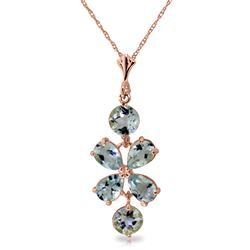 ALARRI 3.15 CTW 14K Solid Rose Gold Necklace Aquamarine