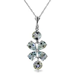 ALARRI 3.15 Carat 14K Solid White Gold Necklace Aquamarine