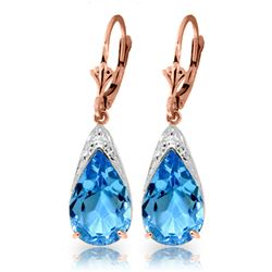 ALARRI 12 Carat 14K Solid Rose Gold Ocean Blue Topaz Earrings