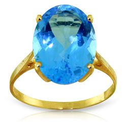ALARRI 8 CTW 14K Solid Gold Ring Natural Oval Blue Topaz