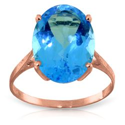 ALARRI 8 CTW 14K Solid Rose Gold Ring Natural Oval Blue Topaz