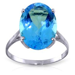 ALARRI 8 Carat 14K Solid White Gold Ring Natural Oval Blue Topaz