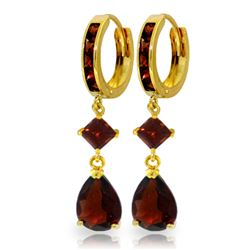 ALARRI 5.62 Carat 14K Solid Gold Huggie Earrings Dangling Garnet
