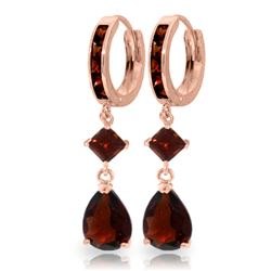 ALARRI 5.62 Carat 14K Solid Rose Gold Huggie Earrings Dangling Garnet