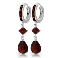 ALARRI 5.62 Carat 14K Solid White Gold Huggie Earrings Dangling Garnet