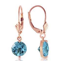 ALARRI 3.1 Carat 14K Solid Rose Gold Round Blue Topaz Leverback Earrings