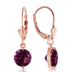 ALARRI 3.1 Carat 14K Solid Rose Gold Round Amethyst Leverback Earrings