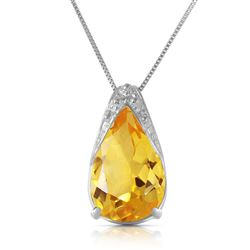 ALARRI 5 Carat 14K Solid White Gold Necklace Natural Citrine