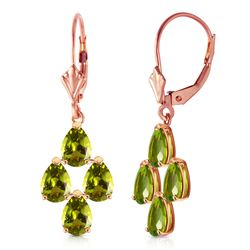 ALARRI 4.5 Carat 14K Solid Rose Gold Peridot Spring Earrings