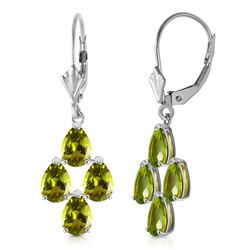 ALARRI 4.5 Carat 14K Solid White Gold Loving Peridot Earrings