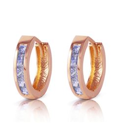 ALARRI 0.95 Carat 14K Solid Rose Gold Huggie Hoop Earrings Tanzanite