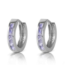 ALARRI 0.95 Carat 14K Solid White Gold Huggie Hoop Earrings Tanzanite