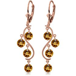 ALARRI 4.95 CTW 14K Solid Rose Gold Citrine Drop Earrings