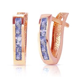 ALARRI 0.95 Carat 14K Solid Rose Gold Tanzanite Huggie Oval Earrings