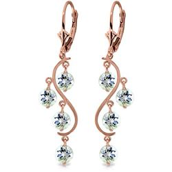 ALARRI 4.5 Carat 14K Solid Rose Gold Aquamarine Drop Earrings