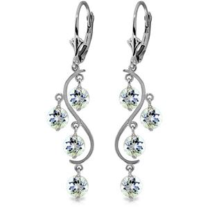 ALARRI 4.5 Carat 14K Solid White Gold Vanilla Love Aquamarine Earrings