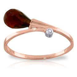 ALARRI 1.51 CTW 14K Solid Rose Gold Ring Diamond Briolette Garnet