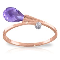 ALARRI 1.51 CTW 14K Solid Rose Gold Giggle Amethyst Diamond Ring