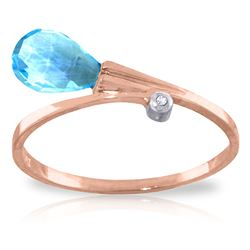 ALARRI 1.51 CTW 14K Solid Rose Gold Ring Diamond Briolette Blue Topaz