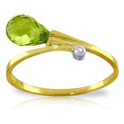 ALARRI 1.51 Carat 14K Solid Gold That Ain't Love Peridot Diamond Ring