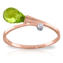ALARRI 1.51 Carat 14K Solid Rose Gold Giggle Peridot Diamond Ring
