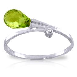 ALARRI 1.51 Carat 14K Solid White Gold Love Takes Rime Peridot Diamond Ring