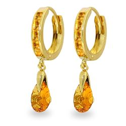 ALARRI 3.3 Carat 14K Solid Gold Hoops Earrings Dangling Citrine