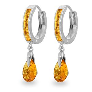 ALARRI 3.3 CTW 14K Solid White Gold Hoops Earrings Dangling Citrine