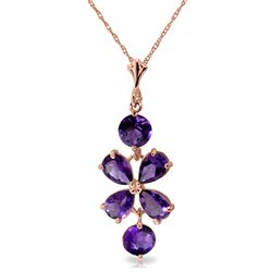ALARRI 3.15 CTW 14K Solid Rose Gold Petals Amethyst Necklace
