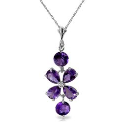 ALARRI 3.15 Carat 14K Solid White Gold Loving Others Amethyst Necklace
