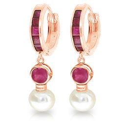 ALARRI 4.65 CTW 14K Solid Rose Gold Huggie Earrings Pearl Ruby
