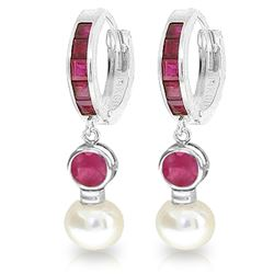 ALARRI 4.65 Carat 14K Solid White Gold Huggie Earrings Pearl Ruby