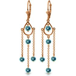 ALARRI 14K Solid Rose Gold Chandelier Earrings w/ Blue Topaz