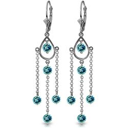 ALARRI 3 Carat 14K Solid Gold Spring Springs Blue Topaz Earrings
