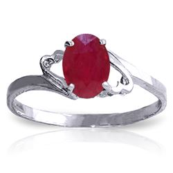 ALARRI 1.15 Carat 14K Solid White Gold Ring Natural Ruby