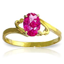 ALARRI 1 Carat 14K Solid Gold Ring Natural Pink Topaz
