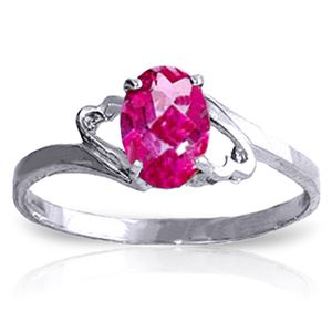 ALARRI 1 CTW 14K Solid White Gold Ring Natural Pink Topaz