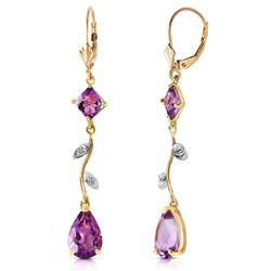 ALARRI 3.97 Carat 14K Solid Gold Chandelier Earrings Natural Diamond Amethyst