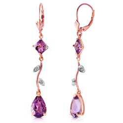 ALARRI 3.97 CTW 14K Solid Rose Gold Chandelier Earrings Natural Diamond Amethyst