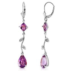 ALARRI 3.97 Carat 14K Solid White Gold Chandelier Earrings Natural Diamond Amethyst