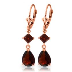 ALARRI 4.5 Carat 14K Solid Rose Gold Garnet Cabernet Earrings