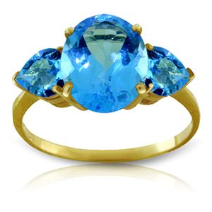 ALARRI 4.2 Carat 14K Solid Gold Passionate About Blue Topaz Ring