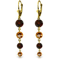ALARRI 7.8 Carat 14K Solid Gold Drizzle Garnet Citrine Earrings