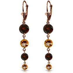 ALARRI 14K Solid Rose Gold Chandelier Earrings w/ Garnets & Citrines