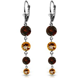 ALARRI 7.8 Carat 14K Solid White Gold Watching You Laugh Garnet Citrine Earrings