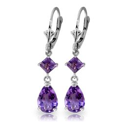 ALARRI 4.5 Carat 14K Solid White Gold Getting Close Amethyst Earrings