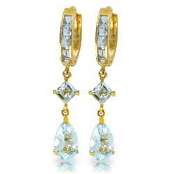 ALARRI 5.62 CTW 14K Solid Gold Huggie Earrings Dangling Aquamarine