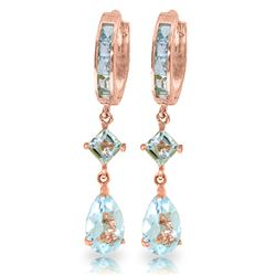 ALARRI 5.62 Carat 14K Solid Rose Gold Huggie Earrings Dangling Aquamarine