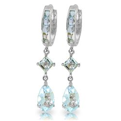 ALARRI 5.62 Carat 14K Solid White Gold Huggie Earrings Dangling Aquamarine
